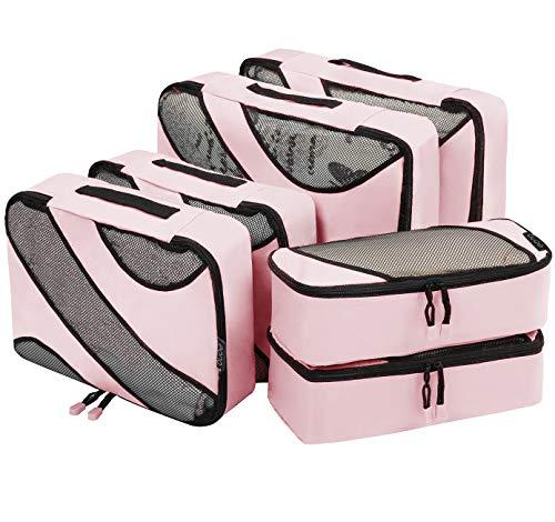 Eono Essentials 6 Set cubes d'emballage, 3 différentes tailles Organisateurs d'emballage bagages Voyage Rose