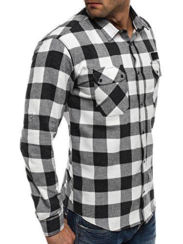 OZONEE Herren Klassisch Hemd Freizeithemd Langarm Shirt Casual Slim Fit NORTH 2503 Schwarz-Weiß