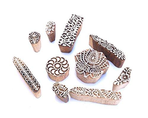 Set von 10Design Block Printing Stempel Holz handgeschnitzt für Frauengewand Border Keramik Basteln, mehendi Druck e