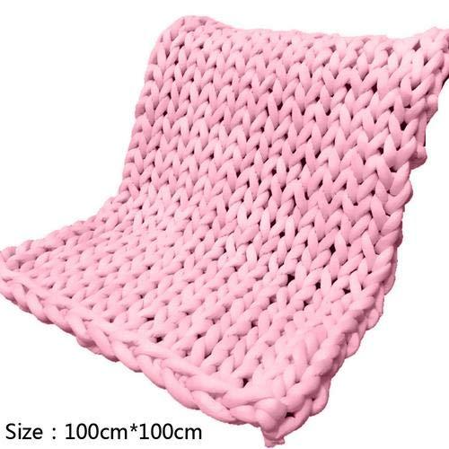Bestmemories Handgewebte Decke aus gestricktem Garn, Klimaanlage Sofa, super dick, gewebt, großer Teppich für Sofa und Bett, Rose, 100 x 100 cm (Super Sperrige Garn Für Teppiche)