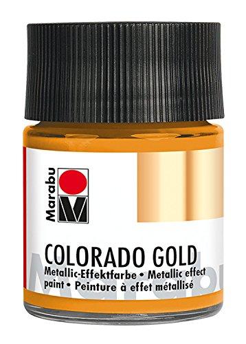 Marabu 12640005713 - Metallic Effektfarbe, Colorado Gold, auf Wasserbasis, lichtecht, wetterfest, schnell trocknend, zum Pinseln und Tupfen auf saugenden Untergründen, 50 ml, metallic orange