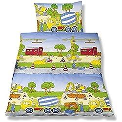 Aminata Kids Kinder-Bettwäsche 100-x-135 cm Bagger BAU-Fahrzeuge Auto-s Betonmischer Baby-Bettwäsche 100-% Baumwolle Renforce alt-rosa dunkel-blau Schloss Junge-n