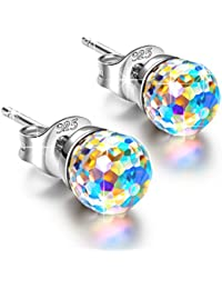 Alex Perry Fantastic World Women Pierced Stud Earrings 925 Sterling Silver with Round Crystals from Swarovski, Christmas Gifts, Multi Color Choice, Allergy-Free Passed SGS Inspection