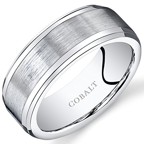 Revoni Herren 8mm Hochzeit Band Ring Abgeschrägte Kante Center Komfort Fit Cobalt Gebürstet (Ring Hochzeit Herren Cobalt)