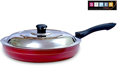 Super Classic Non-Stick Aluminium Fry Pan Set, 2-Pieces, Red (Red Fry pan 260 MM)