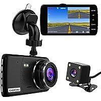 CHORTAU Caméra de Voiture Full HD 1080P 170° Écran de 4 Pouces, Livrée avec Caméra Avant et Caméra Arrière Étanche, Dashcam Voiture avec Détection de Mouvement, Système de Stationnement