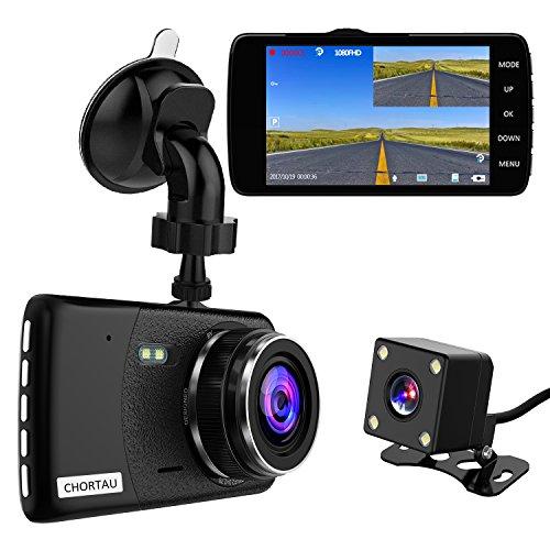 CHORTAU Dual Lens Dash Cam Full HD 1080P 170° 4.0 Inch Screen Front Camera and Waterproof Rear Camera