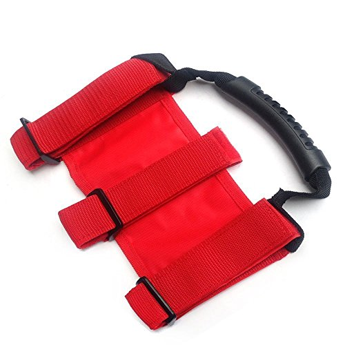 SXMA Roll Bar Grab Handles for Jeep Wrangler TJ/YJ/JK/CJ Sports Sahara Freedom Rubicon Heavy Duty Sturdy Grab Grip Handle Set 2Pcs HL014 (rot) -