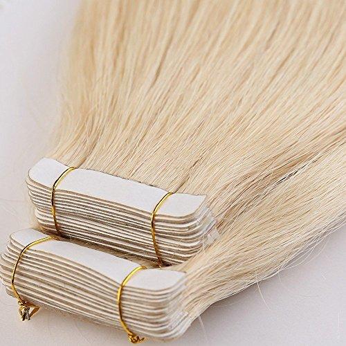 Tape in hair extension adesive capelli veri riutilizzabili- 50cm 100g 40 fasce 613# biondo chiarissimo - 100% remy human hair capelli naturali umani lisci