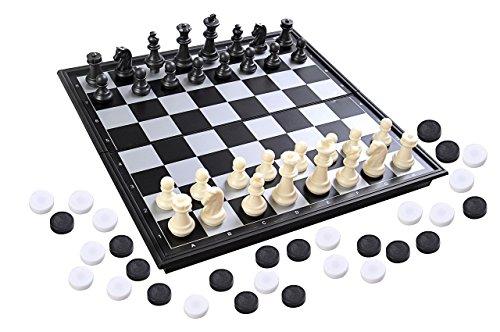 Azerus Standard Line: Klassisches 3-In-1-Spielset - Schach / Dame / Backgammon, mit magnetischem Klapp-Spielbrett, Größe M - 25cm x 25cm (SC56810 DE)
