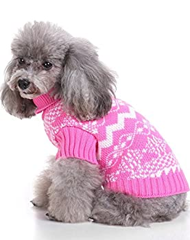 Weant Christmas Fashion Comfortable Pet Clothes Festival Dress Sweater Knitwear (M, Pink) 2