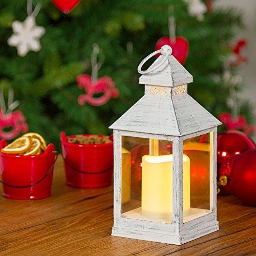 Pack 2 Farolillos blanco viejo con vela, h. 24 cm, LED luz cálida, efecto llama, luces de Navidad, vela a pilas, luces ambiente, luces de fiesta