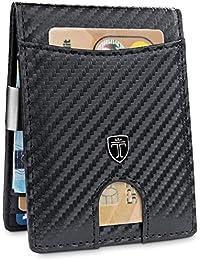 TRAVANDO ® Geldbeutel mit Geldklammer Seattle - TÜV geprüft - Slim Design - 9 Kartenfächer - Carbon-Optik - RFID Schutz - Ohne Münzfach - Das Original - inklusive Geschenk Box - Germany