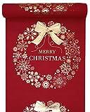 Weihnachts-Tisch-Läufer / Tisch-Decke Merry Christmas in rot & Gold / Tisch-Dekoration / Weihnachts-Deko / Tisch-Band / Weihnachten & Advent (1 Rolle = 3 Meter)
