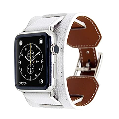 Apple Watch Bracelet, Sundaree En Cuir Véritable Palmprint iwatch Bande Cuff Remplacement Strap Band pour Apple Watch 42mm(White Cuff 42)