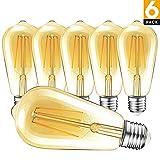Ampoule LED Edison, DoAlpha Edison Rétro Lampe 4W [Equivalent 40W Ampoule Incandescence] 400LM 2700K Angle de faisceau à 360° E27 ST64 Lampes, Décorative Ampoules à Filament Antique [6 Pack]