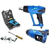 ECD Germany 2000W Pistola de aire caliente con LCD Display Maletín y Accesoriosr 2 Niveles de temperatura 350°C/550°C Decapador de aire caliente