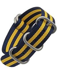 nylon balístico reloj de reemplazo de la correa de banda estilo superior de la NATO 18 mm / alta gama de color amarillo azul para los hombres del braide