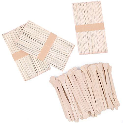Boerni 300 Stück Wachs-Spachtel, natürlicher Spachtel-Applikator aus Holz zur Entfernung von Augenbrauen, Körper und Haaren (125 mm, 150 mm) (Natürliche Holz-spachtel)