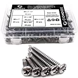 """Comdox 410 - Tornillos de acero inoxidable para cabeza de sartén Phillips autoperforantes, juego de tornillos de metal para tek, cabeza de truss, taladro automático, tamaño #8 x 5/8"""" a #8 x 1-1/2"""" (paquete de 200)"""