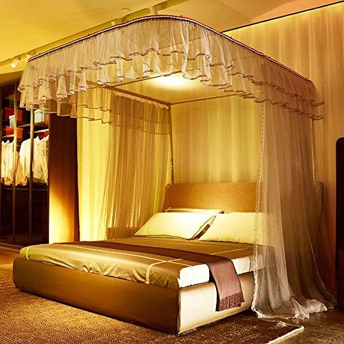 MOSQUITO Moskitonetz, Romantische Prinzessin-Bett-Markise, Quadratische Moskitonetz-Schlafzimmer-Dekoration Einfach, Moskitonetz Anzubringen (Color : Manual Rail, Size : 1.8 x 2.2m Bed) 1.8 Manual