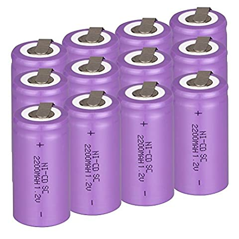 Anmas Boîte 6/10/12/15pcs Ni-Cd Subc 1.2V 2200mAh Batterie rechargeable avec Tab