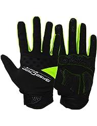 Basecamp guantes de ciclismo de dedo completo TOUCH reconocimiento de montaña bicicleta de carretera bicicleta guantes azul, color verde, tamaño medium