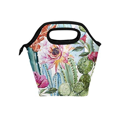 hunihuni Blumen Rose Kaktus Isolierte Thermo Lunch Kühltasche Tote Bento Box Handtasche Lunchbox mit Reißverschluss für Schule Büro Picknick Desert Rose Floral