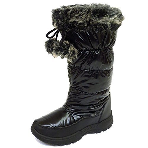 Ladies Black Warm Winter Snow Rain Ski Thermal Ice Boots Shoes Sizes...