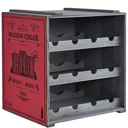 BUTLERS Vinothek Weinregal 36x32x39 in Rot-Grau - Flaschenregal aus Holz - Alternatives Holzregal, Weinständer