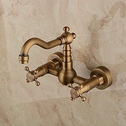 Hiendure® Wall Mounted Solid Brass Kitchen Mixer Tap Inspired Bathroom Sink Tap, Antique Brass Finish