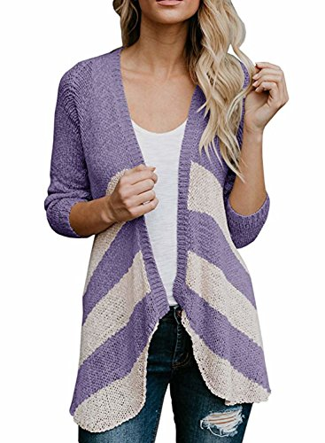 Shelers Womens Striped Leichte Cardigans Langarm Open Front Mid Cardigan Pullover (Lightweight Open-front Cardigan)