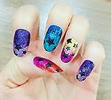YUNAI Oval Gefälschte Nagelspitzen Schrittweise MutiColor Changing mit Schwarzer Stern Glitter-Effekt Falsche Nägel
