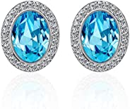 Yellow Chimes Crystals from Swarovski Glamorous Blue Hues Oval Earrings for Women and Girls