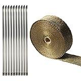 Golden Seeds 15m Ruban Échappement Thermique Isolant Wrap pour Moto Collectionneurs Effacer + 10 Tiges Kit (Titane)