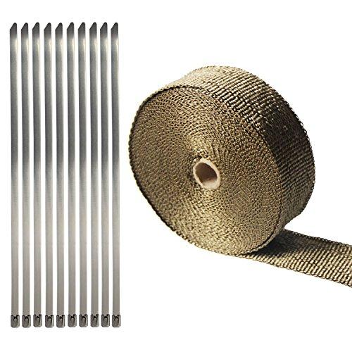 Golden Seeds 15m Nastro Termico Scarico Isolante Bende per Moto Collettori Chiaro + Kit di (Scarico Universale Kit)