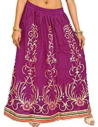 Exotic India Printed Long Skirt With Embellished Patch Border