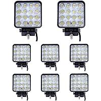 Leetop 8 x 48 vatios 16 1616 proyector LED de luz de trabajo LED para faros de coche de la lámpara de foco de luz de marcha atrás de luz adicional para faros delanteros para Jeep SUV 12-24V
