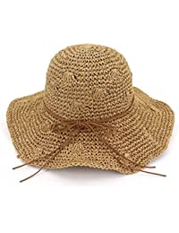 Zhuhaitf Playa de Verano Sombrero de Sol Plegable Hueco Suave ala Ancha Sombrero de Paja Bowknot Visera para Mujeres