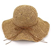 e95d384dbc2b4 Zhuhaitf Playa de Verano Sombrero de Sol Plegable Hueco Suave ala Ancha  Sombrero de Paja Bowknot