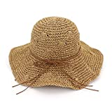 Zhuhaitf Playa de Verano Sombrero de Sol Plegable Hueco Suave ala Ancha Sombrero de Paja Bowknot...