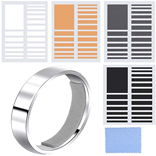 Chuangdi 8 Sheets Invisible Ring Sizer Loose Ring Size Adjuster for Fixing Wide Rings, 152 Pieces Totally, 4 Colors, 2 Kinds of Thickness