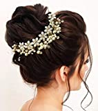 Hair Flare Hair Accessories for Women Stylish 1687 Pins Artificial Flowers Accessories for Weddings With Donut (Pearl)