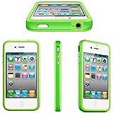 Bumper Schutzhülle für Apple iPhone 4 4S grün TPU Metallbutton