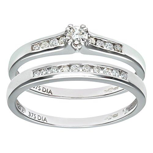 Naava 9ct White Gold Channel Set 0.25ct Princess Cut Diamond Bridal Set Ring