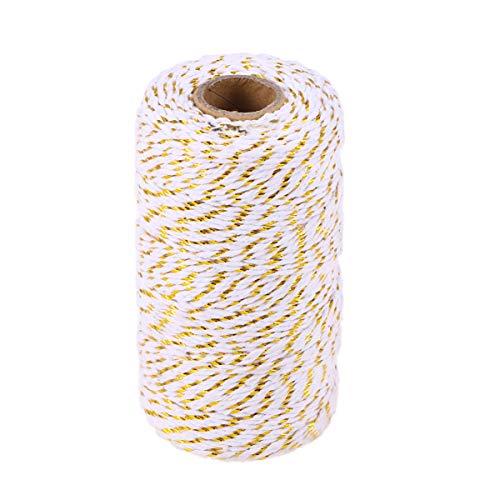 TOYANDONA 100m Baumwolle Baker's Twine Geschenkverpackung Holiday Twine Hochzeit Weihnachten Gold String Baumwollkordel Seil (Gold Metallic) -