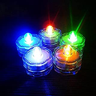 Alxcio LED Candles Flameless Tea Lights Waterproof Battery Operated Electric Fake Candle for Decoration Festivals Celebration Weddings, Pack of 12, 1.18 x 1.02 Inch, Multi, Plum Flower Shape