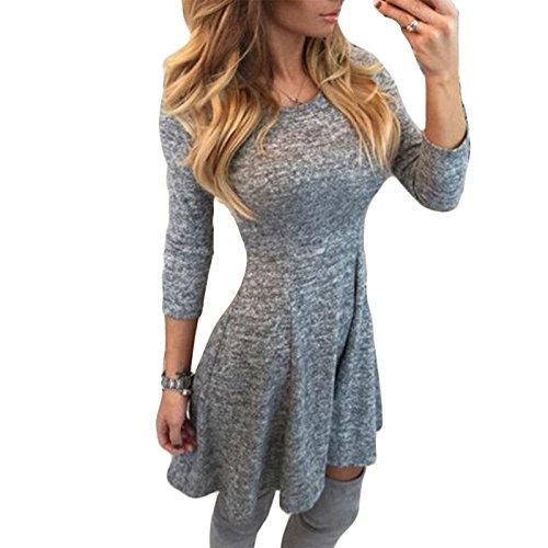 Damen langarm Rundkragen mädchen elegant kleider Kleid Festkleid Etuikleider beachwear Midikleid (S)