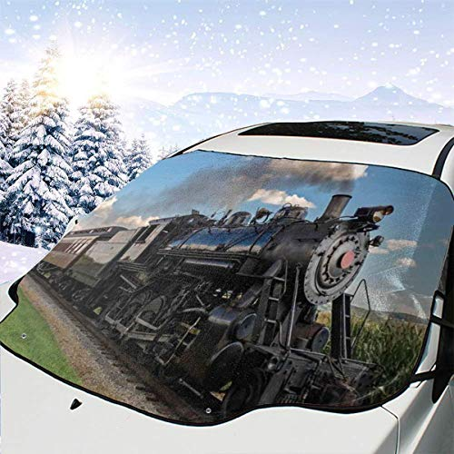 New Shorts Vintage Locomotive In Countryside Scenery Green Grass Puff Train Picture One Size Car Front Windshield Cover Foldable Sunshade Fits Most Cars, Trucks, SUV's (Fit-puff)