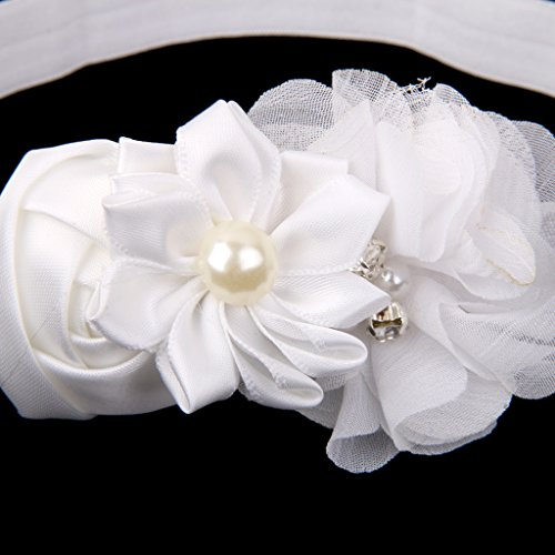Gazechimp Baby Blume Stirnband Fotografie Requisiten Haarband + Baby Perle Fuß Kette - Farbe1, one size Farbe2